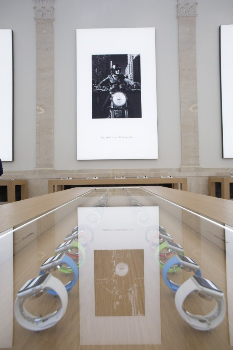 Apple banking on nyc store the columbian apple watches are on display at apples new store on new yorks upper east side the store opens to the public today dailygadgetfo Images