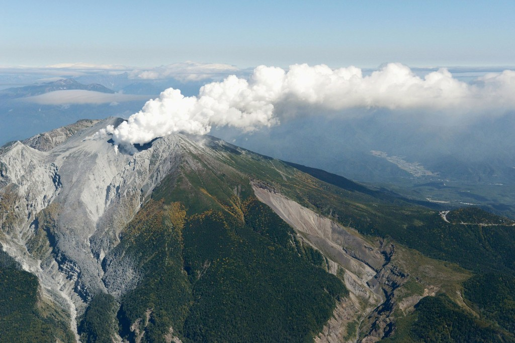 Kyodo News An Aerial View Shows Volcanic Fume And Smoke Rising From Craters Of Mount Ontake