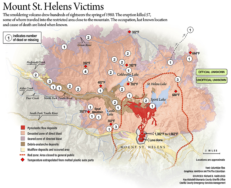 Interactive map of Mount St Helens eruption victims The Columbian