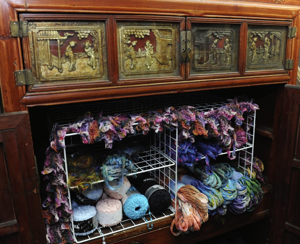 One Of The Displays In An Antique Chinese Cabinet At Jennifer Powellu0027s  Store Wooly Wooly Wag Tails Yarnu0027 In Washougal.