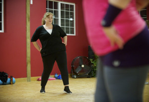 Laina Harris mirrors the moves of the instructor during a Bellyfit class last week in east Vancouver