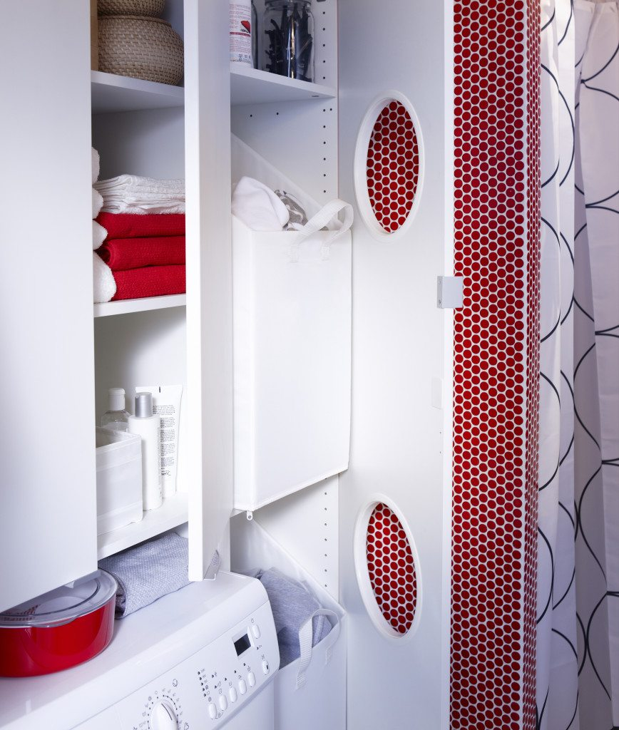 Ikea's Lillangen laundry hamper and tall-boy cabinet has portholes for  laundry, perfect for a tight narrow space.