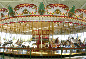 The carousel at the Jantzen Beach Center, seen in 2003, has been missing since it was moved from the