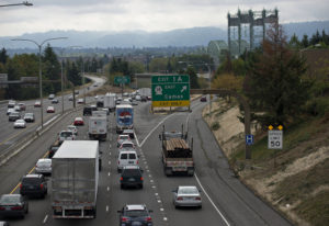 Traffic traveling south on Interstate 5 comes to a crawl as it approaches the Interstate 5 Bridge on