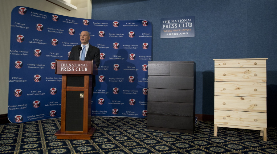 With Two Ikea Dressers Displayed At Right Consumer Product Safety Commission Chairman Elliot Kaye Speaks During A News Conference The National Press