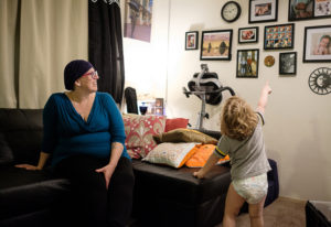 Erin Maher is juggling pregnancy, breast cancer and motherhood. Her son Liam, 2 1/2, points to famil