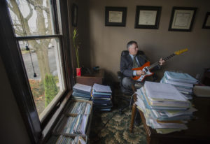 Michael Green, a Vancouver criminal defense attorney and musician, is pictured in his downtown offic