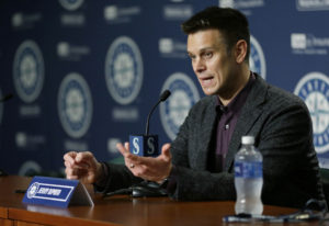 Seattle Mariners general manager Jerry Dipoto talks to reporters in Seattle, Thursday, Jan. 26, 2017