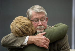 Former Clark County Manager Mark McCauley bids an emotional farewell to supporters May 12. (The Colu