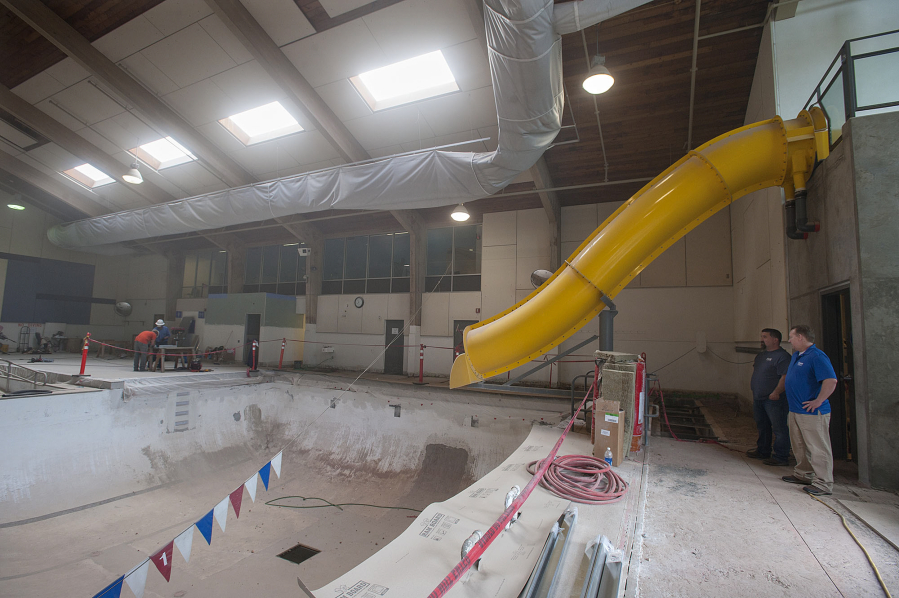 ... Talks With Marshall/Luepke Community Center Director Andy Meade At The  Marshall Community Center Pool. The Pool Is In The Midst Of A Major Upgrade.