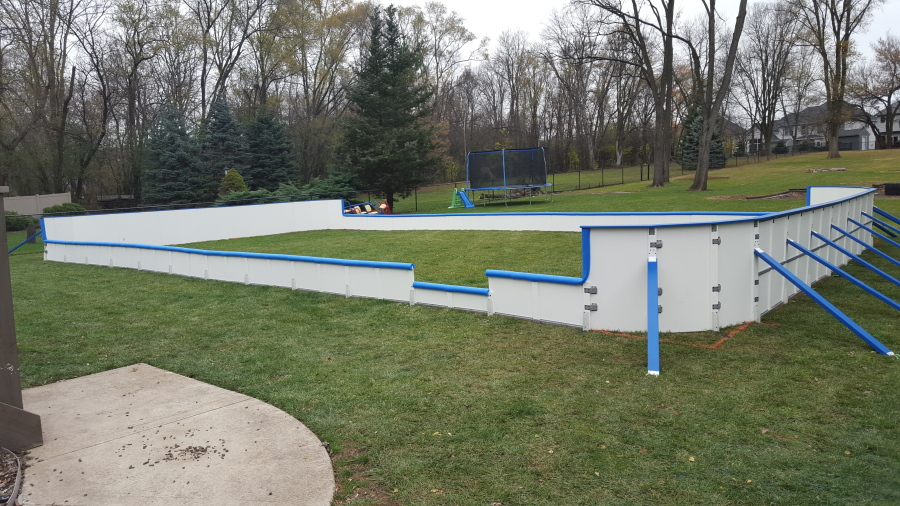 20, 2015 Photo Provided By Iron Sleek Shows A Backyard Rink Kit With  Commercial Style Hockey Boards In A Backyard Near Chicago, Ill. (Iron Sleek  Via AP)