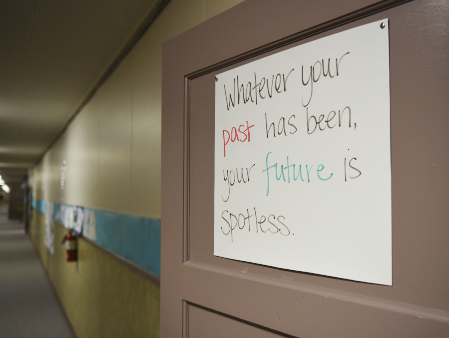 A Sign Reading U201cWhatever Your Past Has Been, Your Future Is Spotless,u201d  Hangs On The Door To The Open Doors Reengagement Program Classroom.