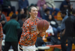 Washougal's Beyonce Bea warms up before the first game of the season against Evergreen High Sch