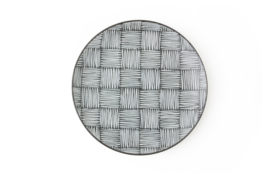 This Undated Photo Shows A Plate From Miya Company. This Plate Features A  Japanese Thatch Pattern, Melding Traditional And Contemporary Design.