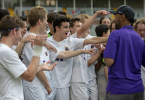 The Columbia River Chieftans celebrate after they beat the Archbishop Murphy Wildcats, 3-1 in the qu