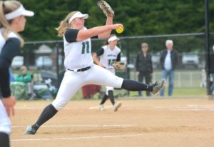 Woodland pitcher Olivia Grey winds up to throw a pitch during the Beavers' 6-2 win over Tumwate