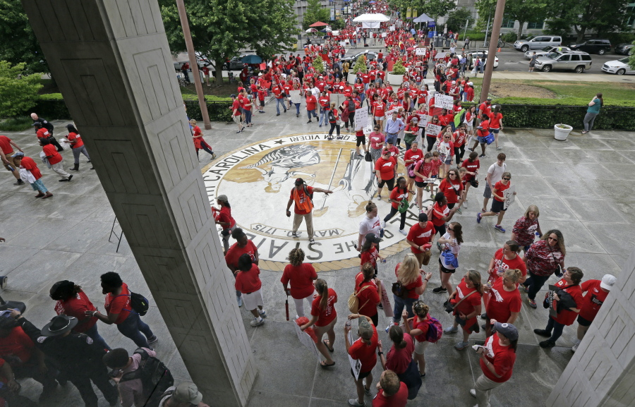 Demanding respect, thousands of teachers and students swarm North Carolina capital