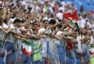 Fans for Iran celebrate the team's victory after the group B match between Morocco and Iran at