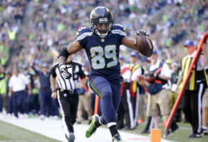 Seattle Seahawks' Doug Baldwin scores a touchdown against the San Francisco 49ers in the second half