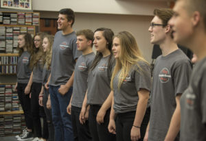 Members of the Battle Ground High School vocal jazz ensemble practice the classic 1980s power ballad