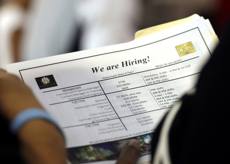 A Job Applicant Looks At Job Listings For The Riverside Hotel At A Job Fair  Hosted By Job News South Florida, In Sunrise, Fla. The Labor Department  Said ...