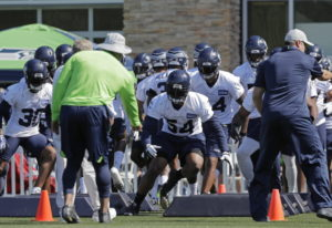 Seattle Seahawks strong safety Bradley McDougald (30) and linebacker Bobby Wagner (54) run an agilit