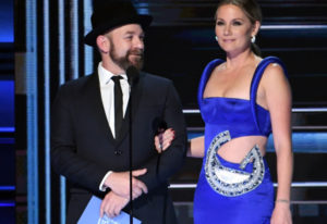 Kristian Bush and Jennifer Nettles of Sugarland at the 51st Annual CMA Awards on Nov. 8 in Nashville