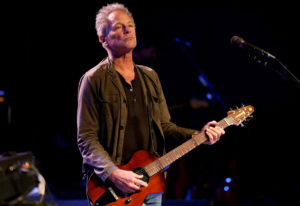Lindsey Buckingham, a member of the Rock and Roll Hall of Fame band Fleetwood Mac, rehearses with ba