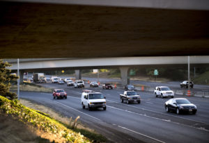 Traffic moves south along Interstate 5 on a recent morning. More than 138,000 vehicles cross the I-5