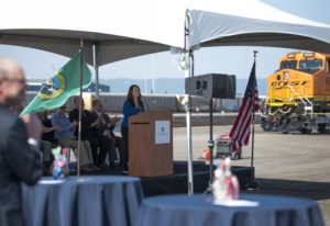 Port of Vancouver CEO Julianna Marler speaks during the grand opening ceremony of the West Vancouver