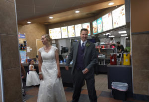 Yacolt: After getting married at Moulton Falls Bridge, Lynn LaBeau McNally and Keith Kent and their