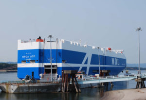 """The Orca Ace, a """"next-generation"""" car carrier, stops in Vancouver on Wednesday after its maiden voya"""
