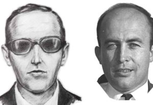 An artist's rendition of plane hijacker D.B. Cooper, left, and a photo from around that time of Sher