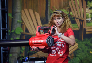 Christine Potter, vice president of outdoor power equipment, talks Thursday about the Craftsman blow