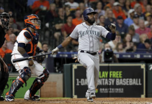 Seattle Mariners' Denard Span watches his two-run home run in front of Houston Astros catcher M