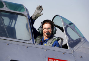 FILE - In this Jan. 12, 2018, file photo, Rep. Martha McSally, R-Ariz., leaves in a T-6 World War II