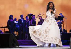 "FILE- In this April 19, 2017 file photo, Aretha Franklin performs at the world premiere of ""Cli"