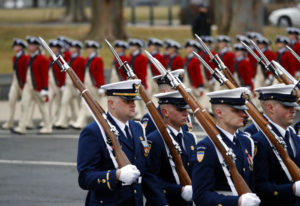 FILE - In this Jan. 20, 2017 file photo, military units march in the inaugural parade from the U.S.
