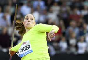 United States' Kara Winger competes in the women's javelin throw event during the Weltklas