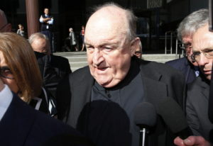Former Adelaide Archbishop Philip Wilson leaves Newcastle Local Court on Tuesday in Newcastle, Austr