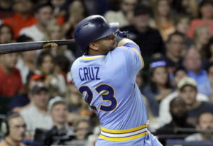 Seattle Mariners' Nelson Cruz watches a two-run double against the Houston Astros during the eighth