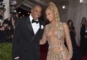 Jay Z, left, and Beyoncé arrive at The Metropolitan Museum of Art's Costume Institute benefit gala M