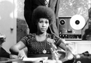 Soul singer Aretha Franklin appears at a news conference March 26, 1973. Franklin died Thursday at h