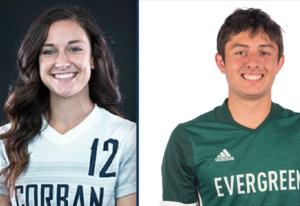 Riley Smetzler, left, and Levan Zhividze, members of the Corban University soccer program.
