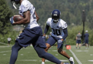 Seattle Seahawks strong safety Bradley McDougald (30) tracks a teammate with the ball during NFL foo