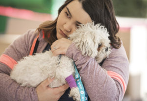 Veterinarian Assistant Rose Islam comforts Fritzy during his exam during the free pet clinic at Open
