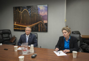 Legislative candidates Larry Hoff and Kathy Gillespie speak Tuesday with The Columbian's Editorial B