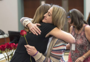 Victim Advocate Amy Harlan, left, and Brenda Eyman, whose sister, Janell Knight, was killed in 2016,