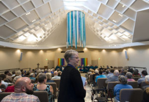Vancouver United Church of Christ Pastor Jennifer Brownell starts proceedings during a rededication