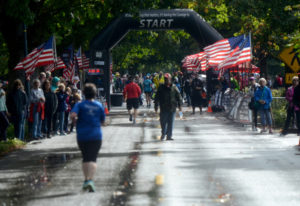 Runners are spread thin as they reach the finish line of the inaugural Apple Tree Marathon in Vancou